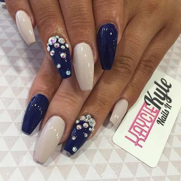 Nail Art On Navy Blue Nails: 69 Impressive Coffin Nails You Always Wanted To Sport